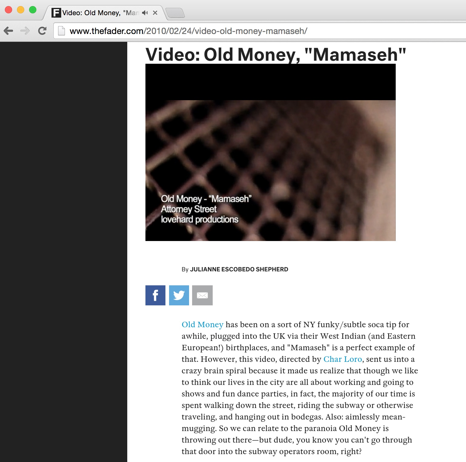 7 The Fader magazine OldMoney video release MAMASEH